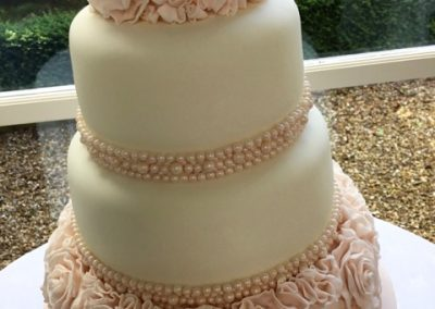 Blush Pink Sugar Ruffles & edible pearls at Shottle Hall
