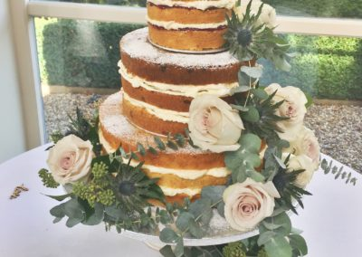 Naked Cake with floral decoration at Shottle Hall