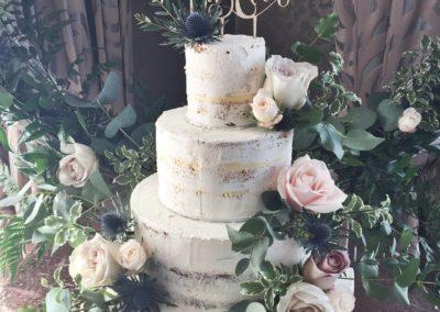 Semi Naked Wedding Cake with fresh flowers